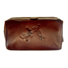 Tyler & Tyler Leather Wash Bag - Sparring Hares