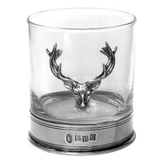 English Pewter Glass Stag Whisky Tumbler