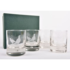 Set of 4 Pheasant Glass Whisky Tumblers