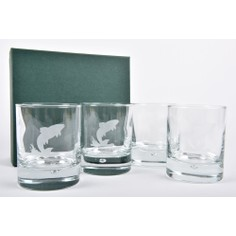 Set of 4 Leaping Fish Glass Whisky Tumblers