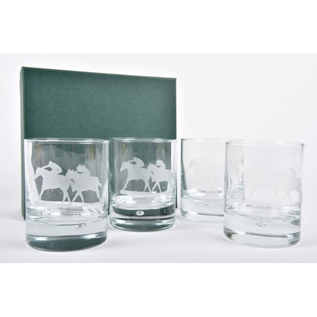 Set of 4 Horse Racing Glass Whisky Tumblers