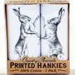 Pack of 2 Boxing Hares Handkerchiefs additional 2
