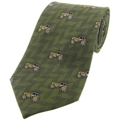 Soprano Tractors on Green Country Silk Tie