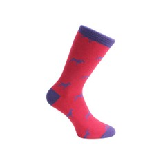 Red & Blue Dog Socks - Combed Cotton