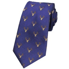 Soprano Navy Blue Stags Head Woven Silk Tie
