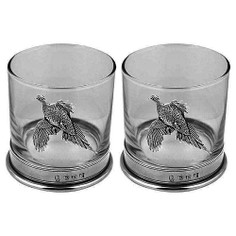 English Pewter Glass Pheasant Double Tumbler Set