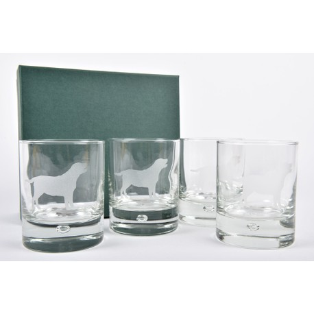 Set of 4 Labrador Glass Whisky Tumblers