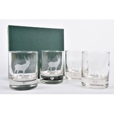 Set of 4 Stag Glass Whisky Tumblers