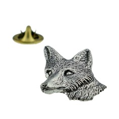 Fox Head Pewter Lapel Pin Badge