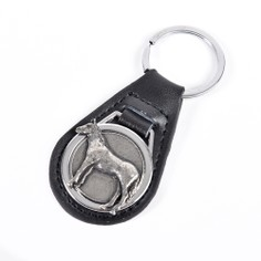 Leather Keyring with Pewter Horse