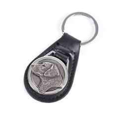 Leather Keyring with Pewter Labrador Head