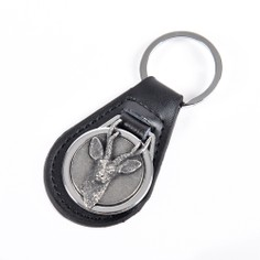 Leather Keyring with Pewter Roe Deer Head