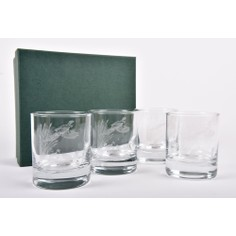 Set of 4 Pheasant and Reeds Whisky Glasses