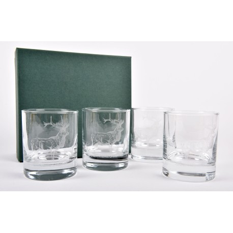 Set of 4 Red Deer Stag Whisky Glasses