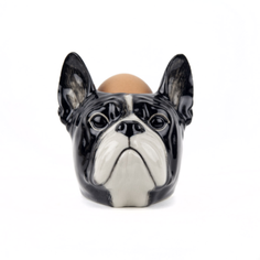 Quail Ceramics French Bulldog Face Egg Cup - Black and White