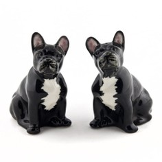 Quail Ceramics French Bulldog Salt and Pepper Shaker Pots - Black and White