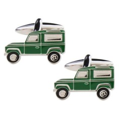 Green Land Rover Rhodium Plated Cufflinks