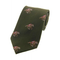 Soprano Green Horse Racing Woven Silk Tie