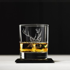 The Just Slate Company Stag Etched Glass Whisky Tumbler and Slate Coaster