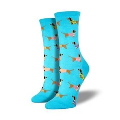 Ladies sky blue multi coloured dachshund socks