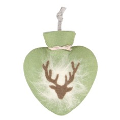 Felt Heart Shaped Stag Hot Water Bottle - Moss Green