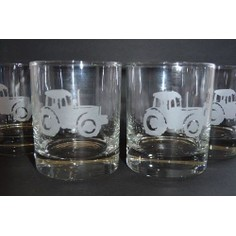 Set of 4 Tractor Design Glass Tumblers