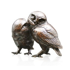 Limited Edition - Pair of Little Owls Bronze Sculpture
