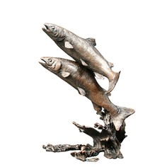 Limited Edition - Salmon Pair Bronze Sculpture