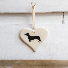 Dachshund Smooth Haired Black & Tan Hanging Heart