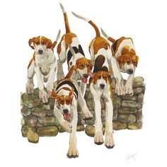 "Mary Ann Rogers Limited Edition ""Scramble"" Hounds Print"