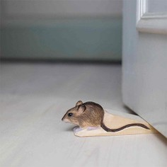 Hand Carved Wood Mouse Doorstop