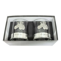 Pair of Tractor Pewter Whisky Glasses