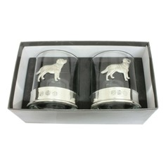 Pair of Labrador Pewter Whisky Glass Tumblers