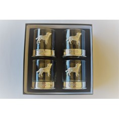 Set of Four Labrador Pewter Whisky Glasses