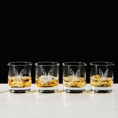 Just Slate Hare Etched Glass Tumbler Gift Set (Set of 4)