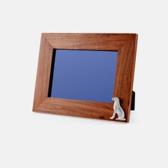 Teak and Silver Plated Labrador Photo Frame