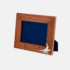Teak and Silver Plated Pheasant Photo Frame