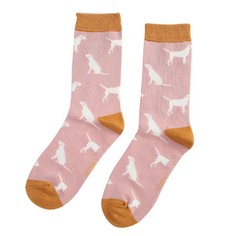 Ladies Labradors Socks in Dusky Pink