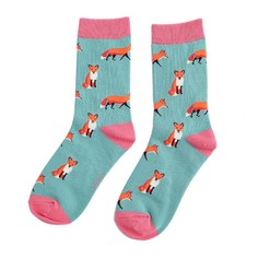 Ladies Fox Socks in Green