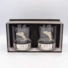 Pair of Fishing Pewter Whisky Glasses