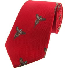 Soprano Red Flying Pheasant Luxury Woven Silk Tie