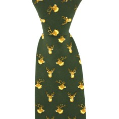 Soprano Green Silk Country Tie with Stag Head Design