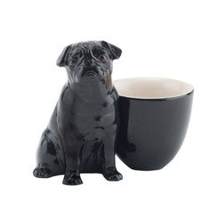 Quail Ceramics Black Pug with Egg Cup