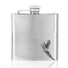 English Pewter 6oz Stainless Steel Flying Pheasant Hip Flask
