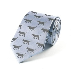 Fox & Chave Blue and Black Labrador Silk Tie