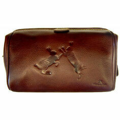 Leather Wash Bag - Sparring Hares