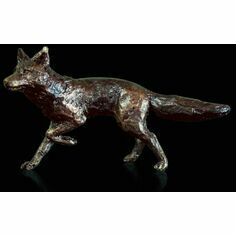 Miniature Solid Bronze Fox