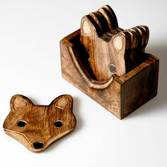 Set of 6 Wooden Fox Coasters In A Stand