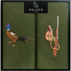 Pair of Embroidered Pheasant and Gun Handkerchiefs
