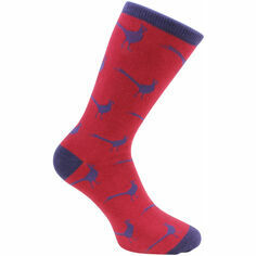 Pair of Red & Blue Pheasant Socks - Combed Cotton